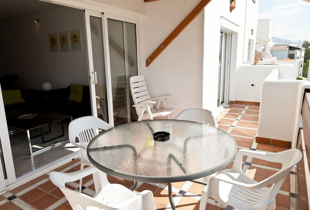 Lower terrace outside table with chairs