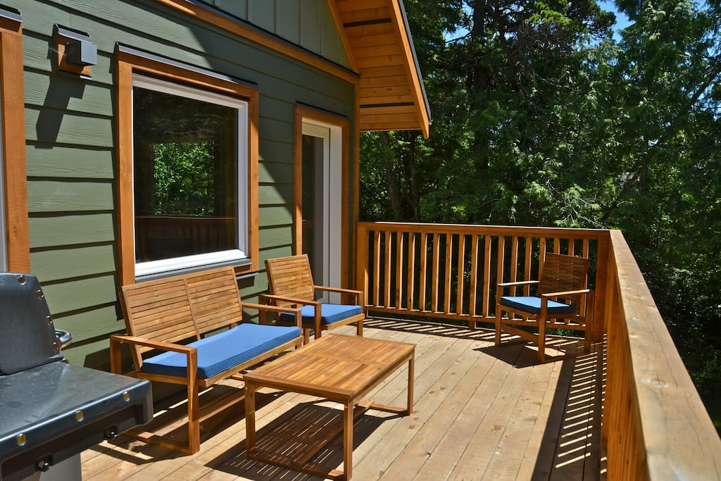Back deck facing SW.  Great BBQ and relaxing area.