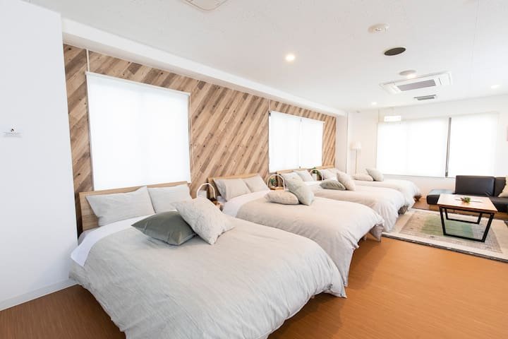 4 semi double beds with fresh linens