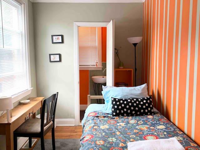 Minimalist's ideal stay, Private half bathroom