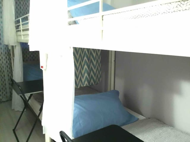 Male dormitory shared room - 4 bunk beds, 8 people to share one room -Feature private curtain in every bed - PowerPoint sockets for every guest - laptop table with the bottom bunk bed