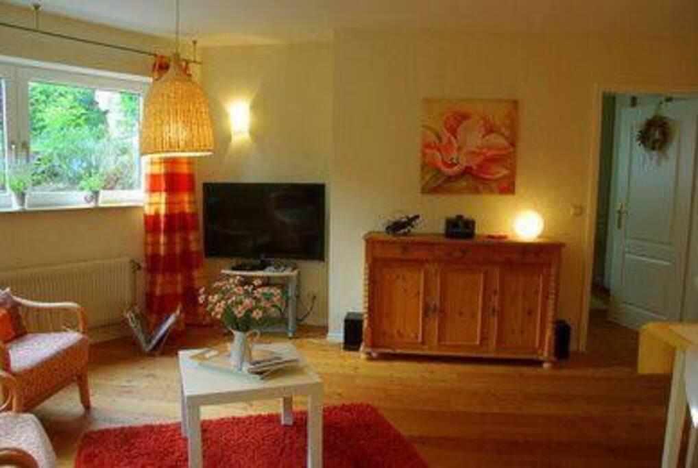 Wohnzimmer mit HD-Fernseher und BluRay-Player