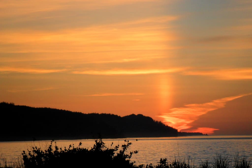 One of many spectacular sunsets you can see out the back windows of the Strait of Juan de Fuca.