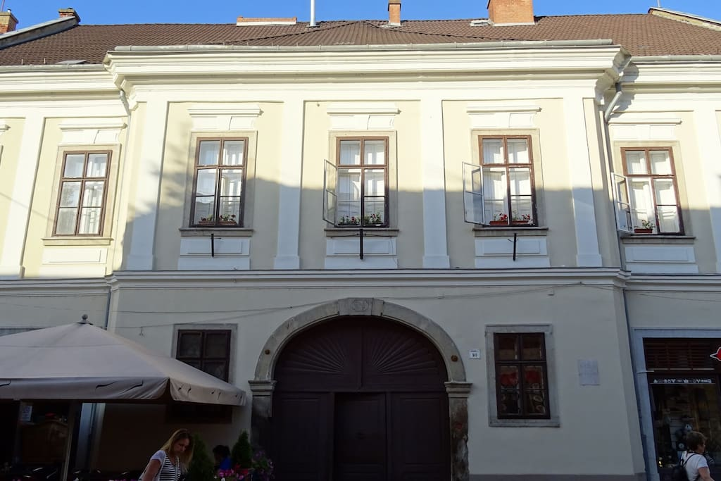 The main entrance - the apartment is in the attic on the other side of the building