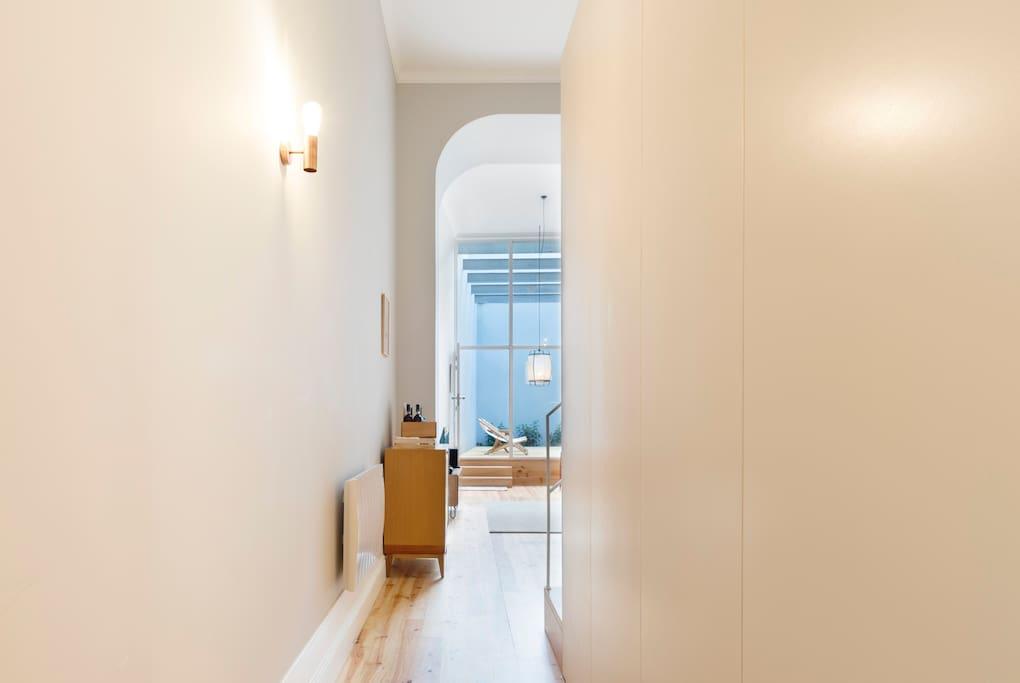 As you enter the apartment