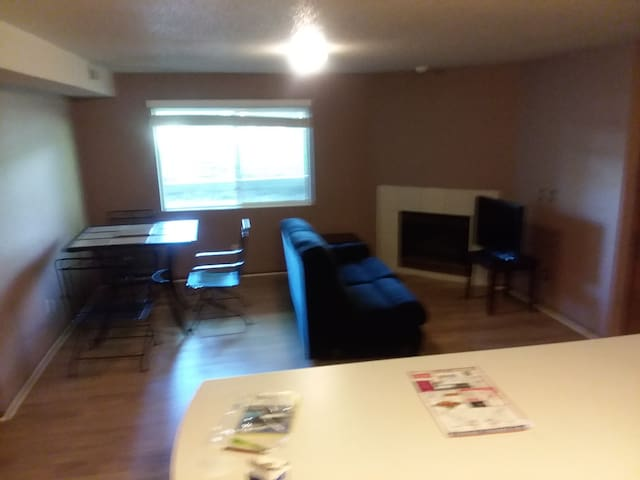 living room with dining room table and chairs , pull out sleeper couch and sofa. /with tv