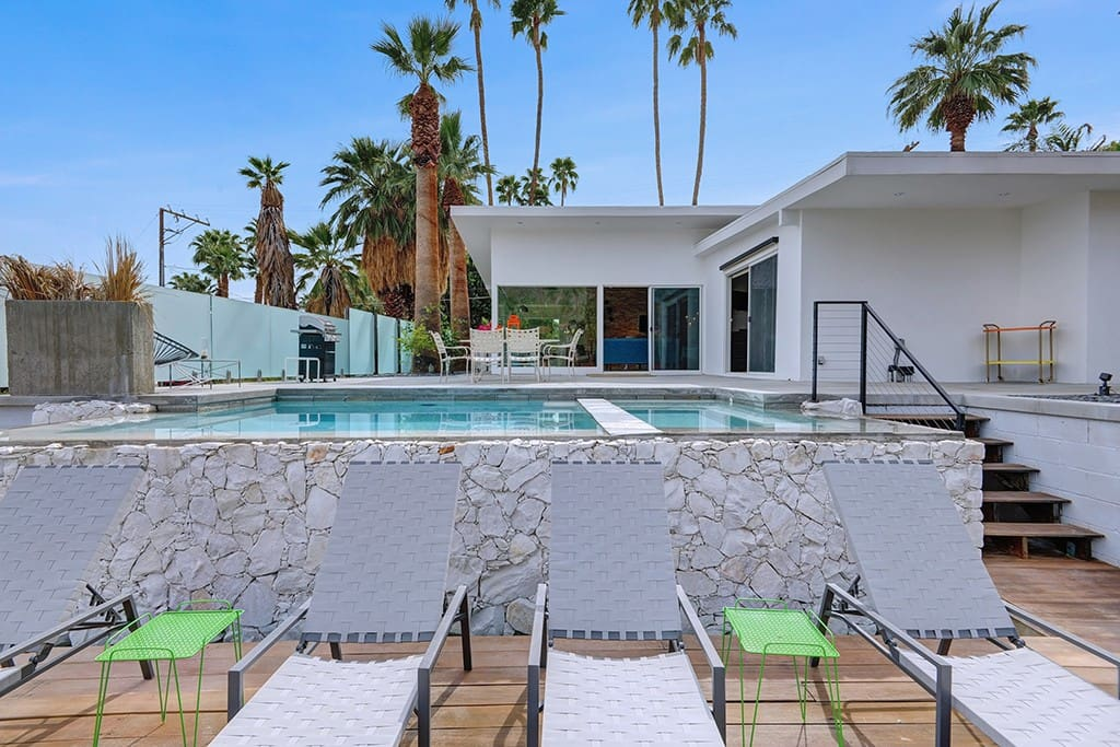 CHAISE TO PROPERTY - DESERT SKY JEWELBOX - PALM SPRINGS VACATION RENTAL POOL HOME