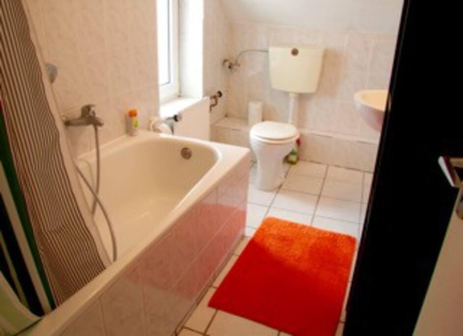 Badewanne, Dusche, Toilette, Waschbecken