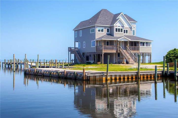 SAIL ON - Custom Designed Soundfront Home w/Hot Tub, Private Boardwalk, Boat Slips, Grill