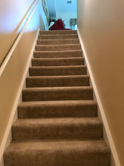 One flight of stairs.