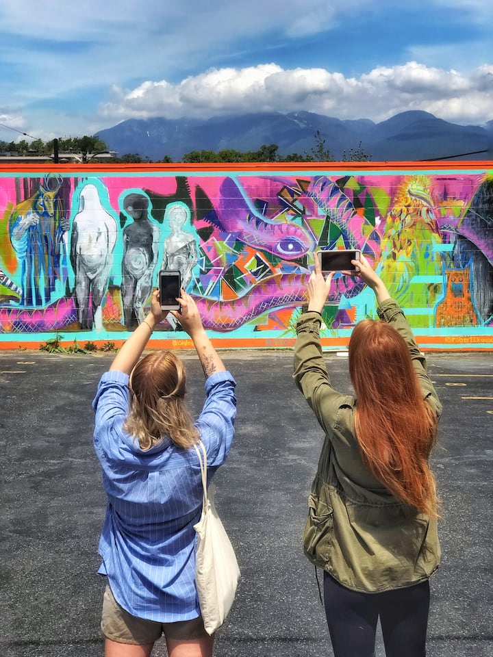 The mountains, sky and local mural art
