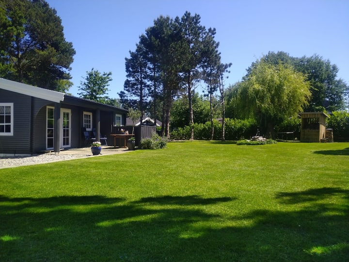 Sommerhus 100 meter fra strand, 1000 kvm have.