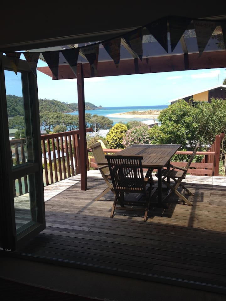 View from lounge and front deck (shared areas) looking out over entrance to Ngunguru River