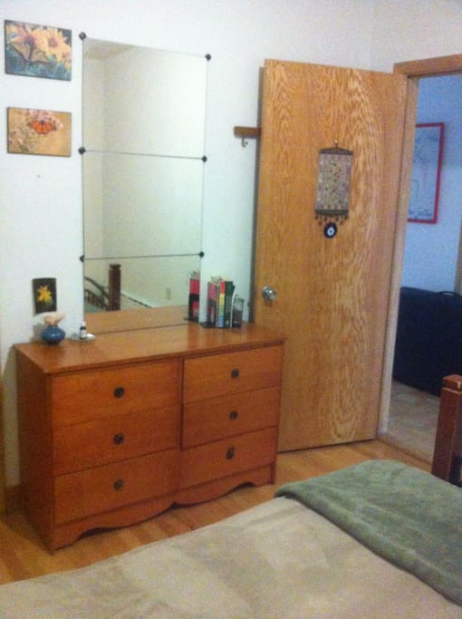 Room has dresser, mirror, closet and desk. Unlimited high speed WIFI is available for your convenience.
