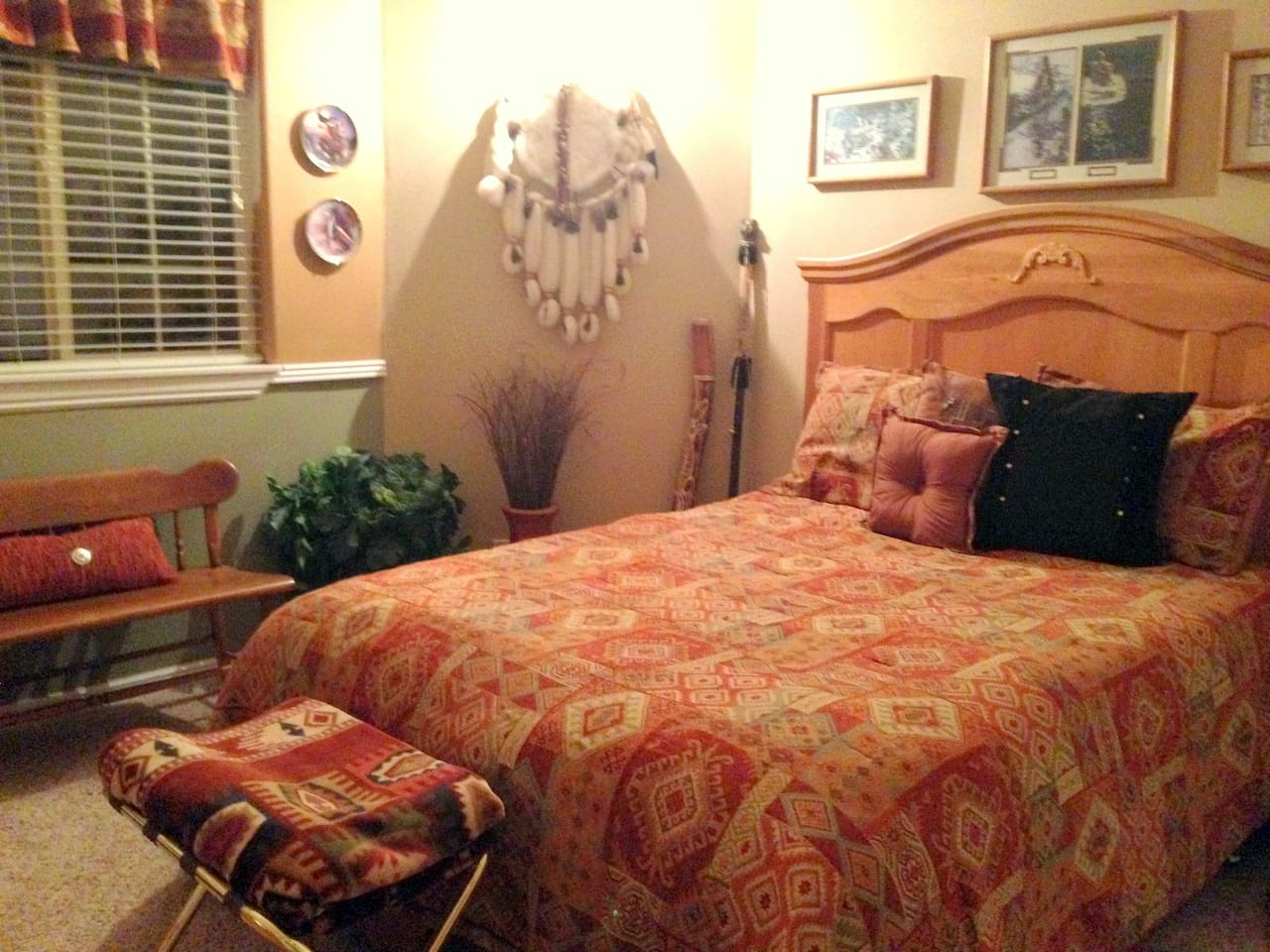 Is the Bev Doolittle bedroom. It is decorated in a Southwestern theme with Bev Doolittle prints on the wall. If you don't know who Bev Doolittle is I guess you better come and find out. We would love to have you as our guests at the Winchester House.