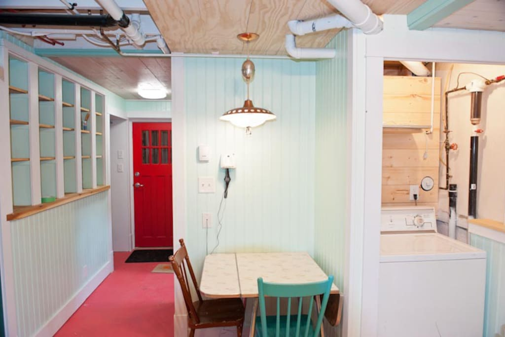 Bright colours and heated floors make this space feel really calm and comfortable.