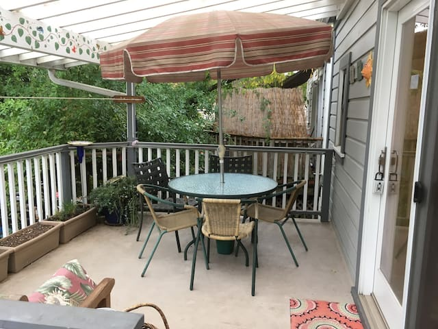 Covered deck eating/hanging out area
