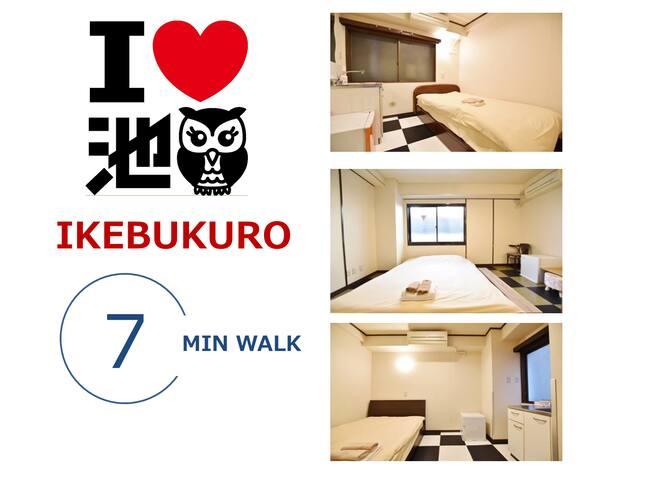 19★1 Double bed cozy room @IKEBUKURO WEST AREA