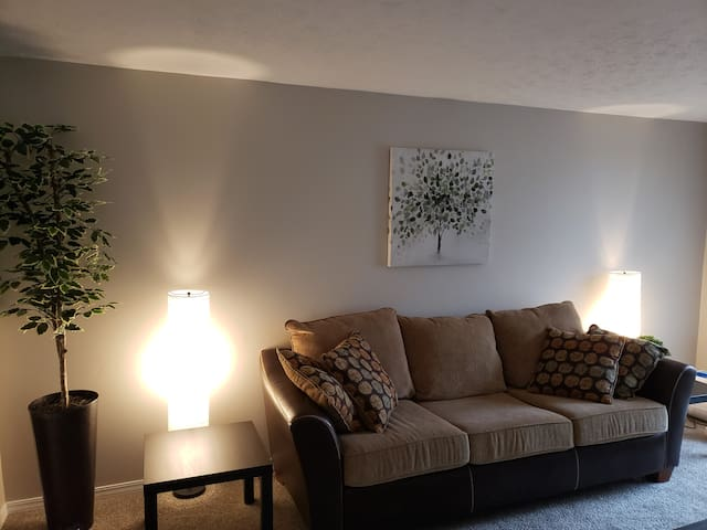 Living room.  Comfortable couch, tastefully decorated