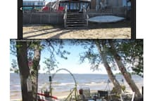 The top photo is the deck and house. The lower half is a PHOTO OF THE HUGE NIPPISSING LAKE.