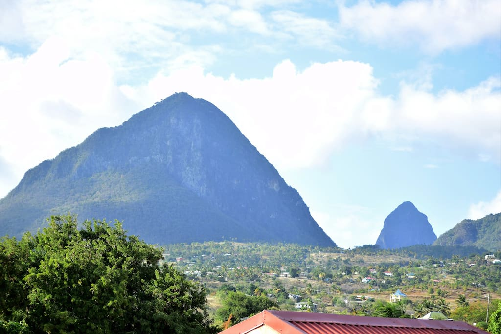 View of Gros and Petit Pitons from La Fargue