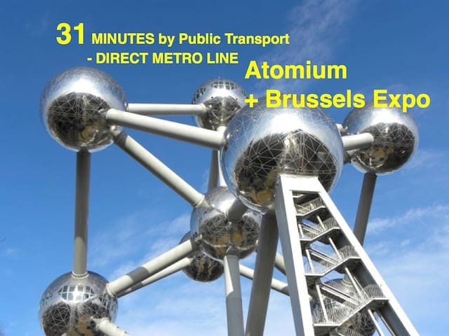 Direct metro line M6 to Atomium ! 31 minutes ride.