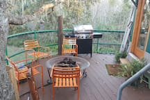 Yurt deck gas fire pit gas grill