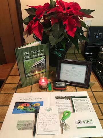 We always leave a welcome packet filled with information on the cabins, mountain events, etc waiting inside for you!