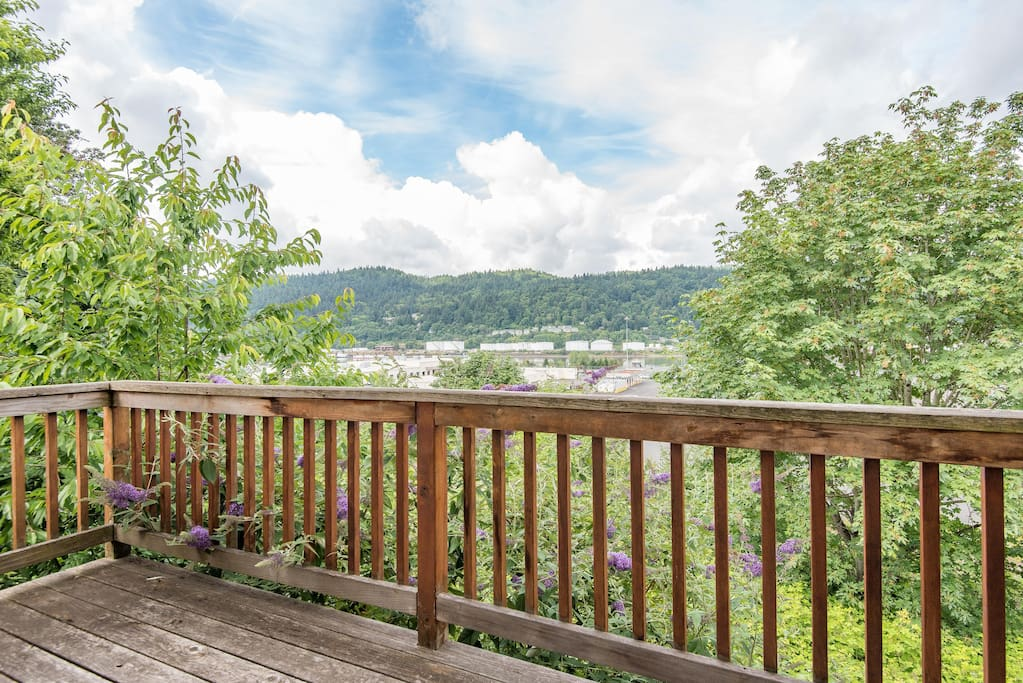 Second floor deck gives you unique views of the river and Forest Park
