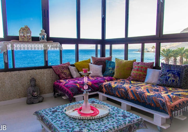 Beachfront apartment.