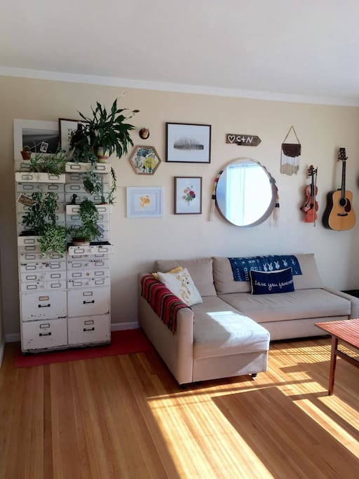 Living room gets tons of natural light.