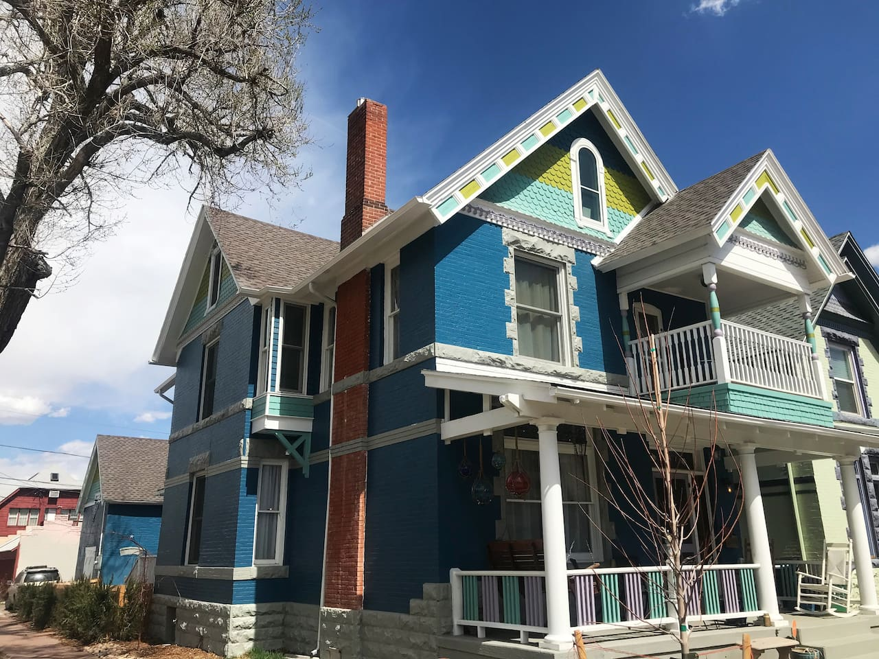 A lovingly restored historical landmark, 1890 Queen Anne, Founder of Elsy Studios Designer decorated.  Two blocks from Broadway bars and restaurants, 13 blocks from downtown Denver. 3 story home with 5 bedrooms, 4 bathrooms, 9 beds, sleeps 12.