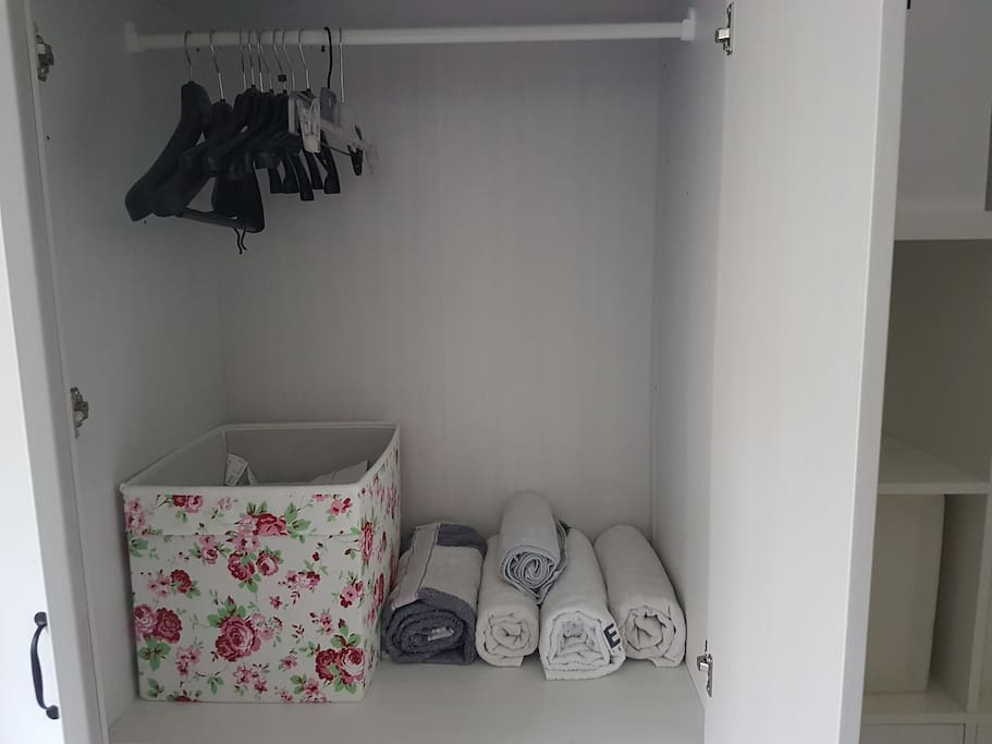 There are couple of shelves and lots of wardrobe spacce.