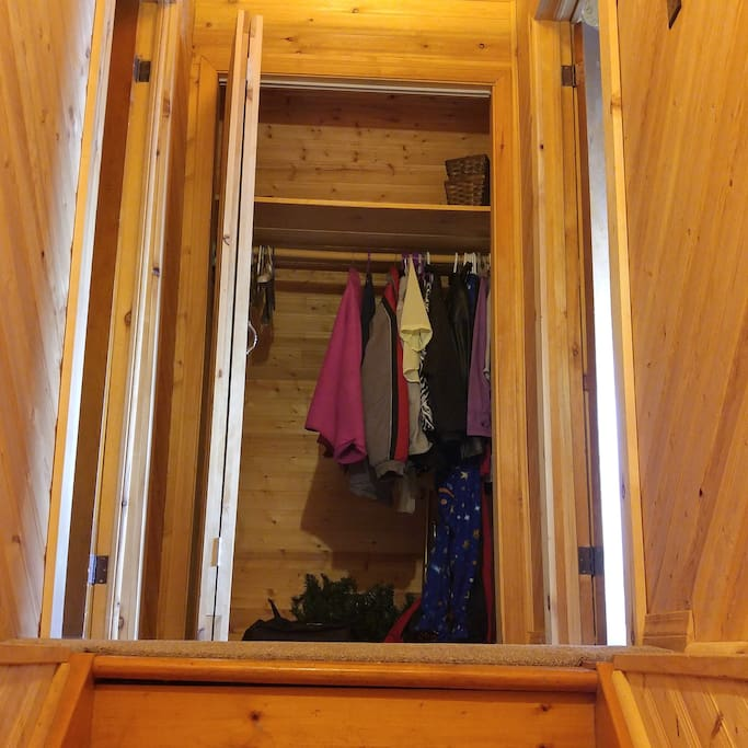 Upstairs closet, and downstairs closet available