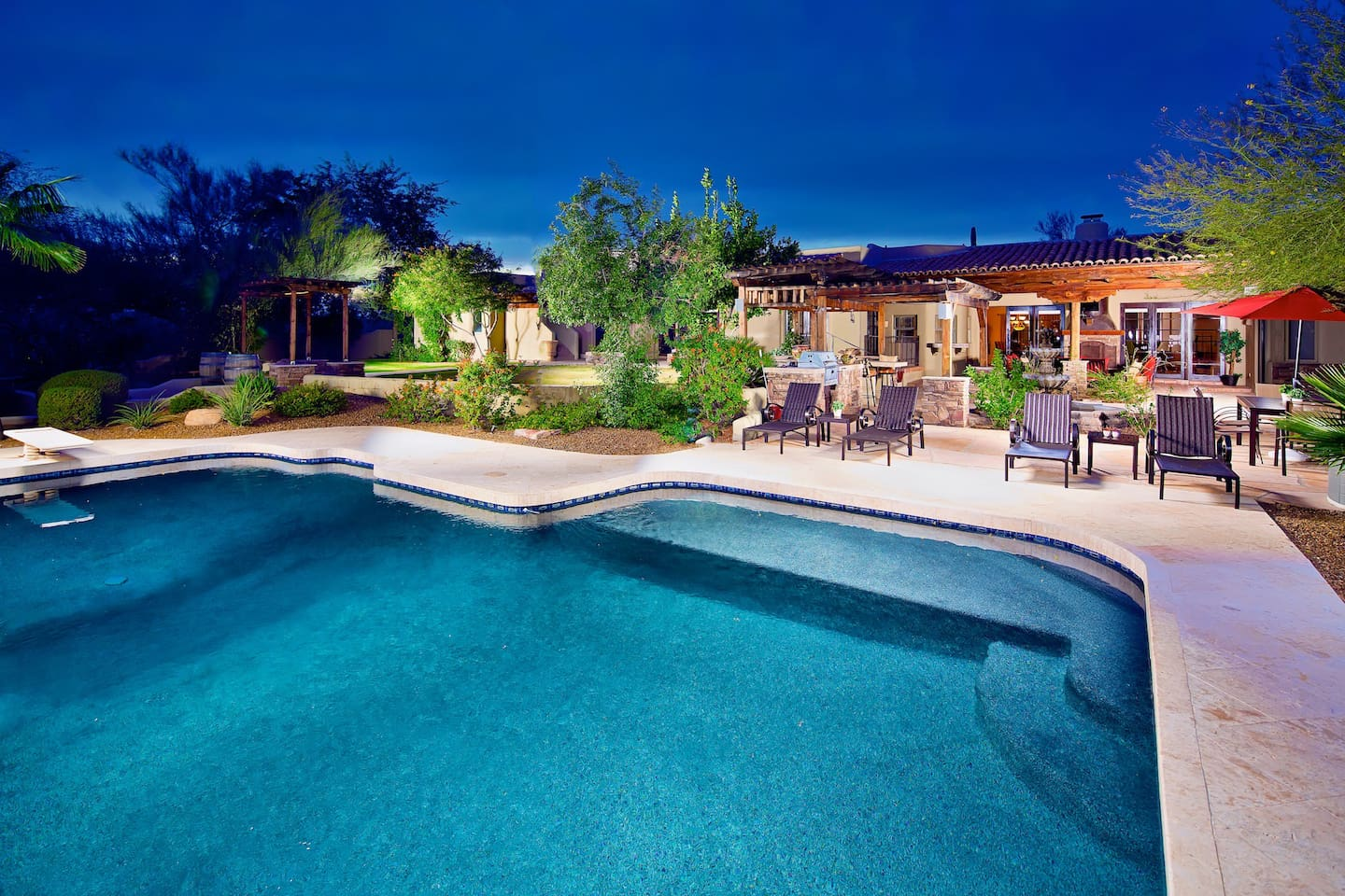 Relax and enjoy your private heated pool with baja feature