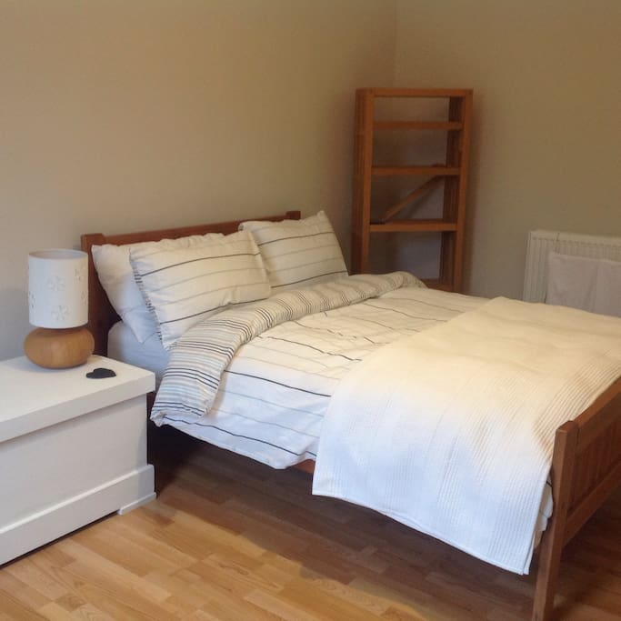 Standard double bed, shelving for your toiletries etc