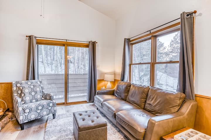 Dog-friendly ski condo w/wood fireplace, private gas grill, shared washer/dryer