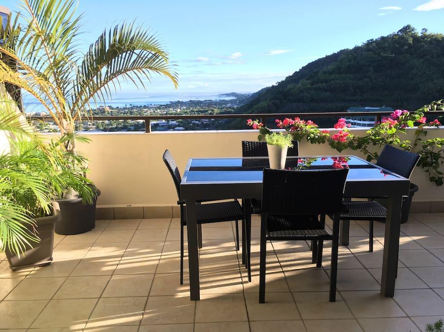 La terrasse avec sa table qui se rallonge pour le double!