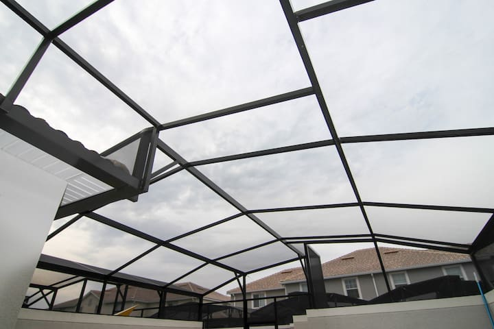 The panoramic roof over the private pool.