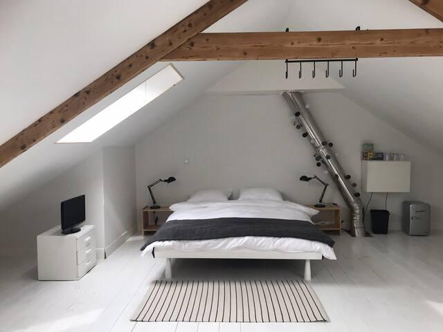 Large (50 m2) light room, incl. bike & breakfast