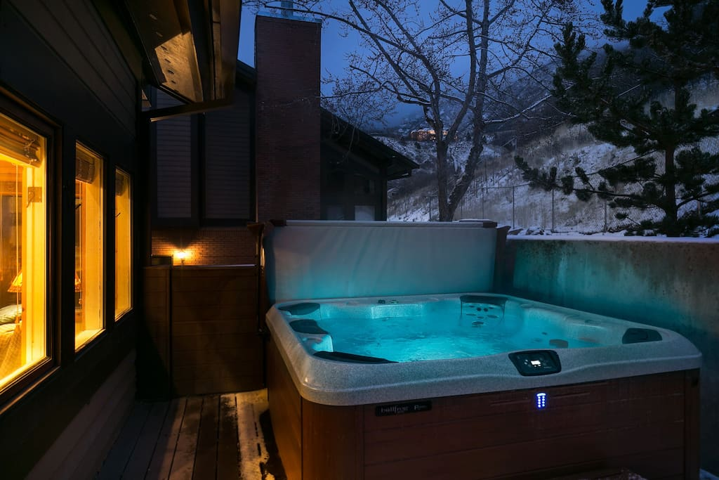 After playing in the mountains all day relax under the stars (or snow!) in the new 8 person professionally maintained hot tub!