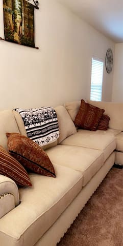 Great  couch and full bathroom