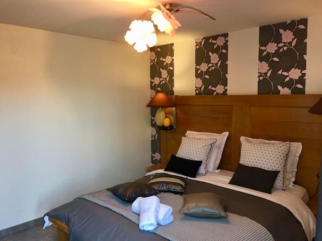 Chambre avec accès direct au Jacuzzi, matelas jumeaux neufs et électriques. Ainsi qu'un accès directe à la salle de bain. Direct access to the Jacuzzi by this room, with electric beds.