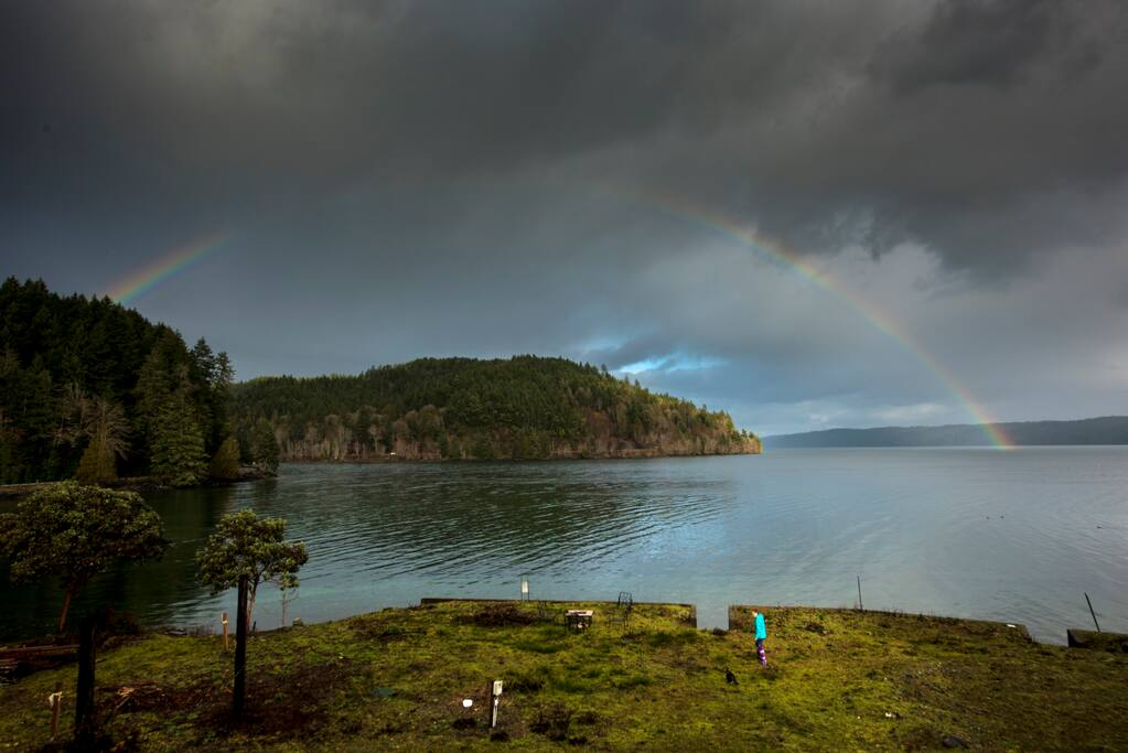 "They should rename Lilliwaup Bay, ""Rainbow Bay"".  Even when the weather is not bright and sunny, rainbows spring up continuously across the bay.   Even better, we will be upgrading the landscaping over the next year to include  an outdoor kitchen, hot tub, and a fire pit.  Stay tuned for updates!"