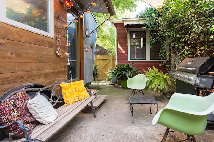 This is YOUR patio.. complete with BBQ grill, fan, seating, tables and party lights!