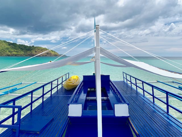 It is not just your ordinary boat. It's a party boat! You can sit, lay down, sing or dance :) Book your island hopping tour today!