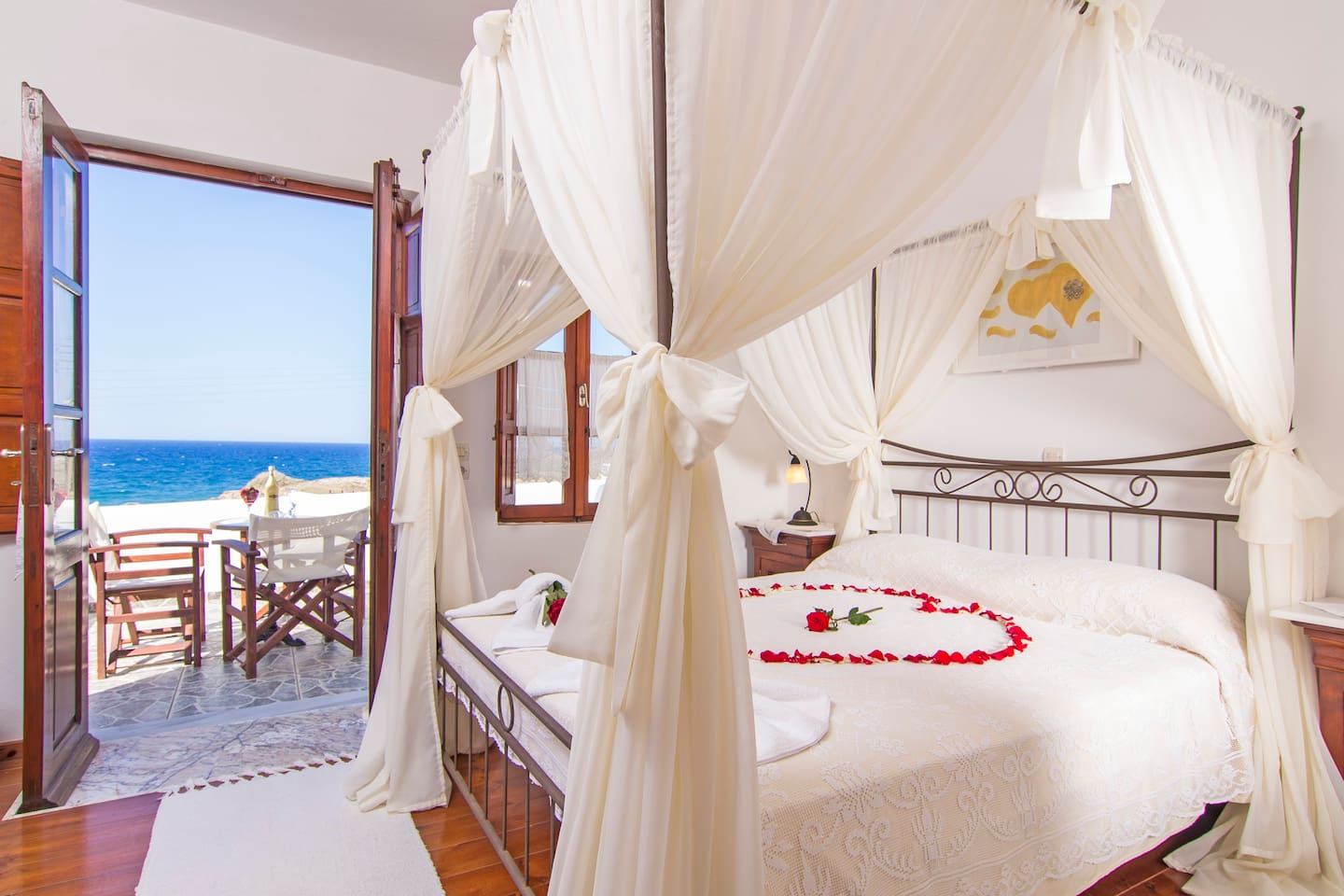 bedroom with aegean sea view