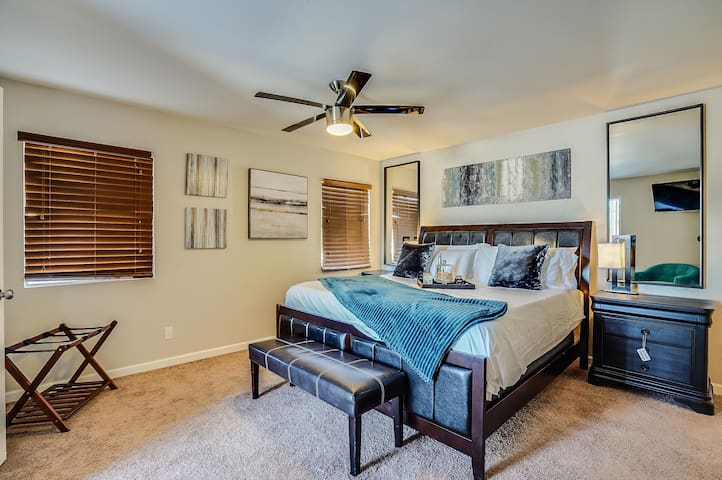 Master bedroom. Every room has cable and a Smart TV