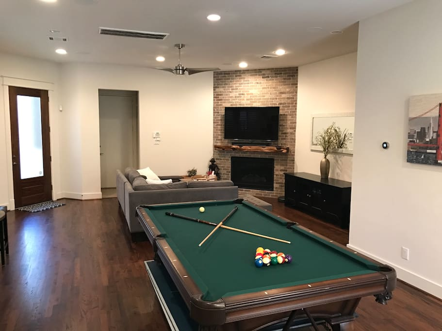 Full size pool table with ping pong top stored underneath