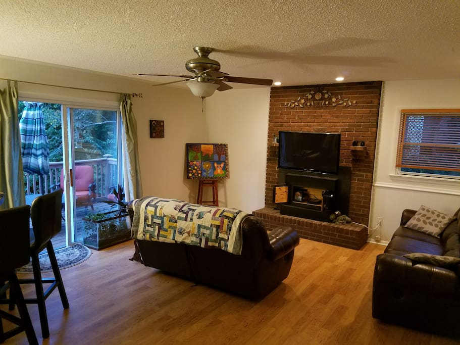 Shared living room and deck